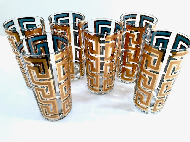 Georges Briard Mid-Century 22-Karat Gold Greek Key Glasses (Set of 6)
