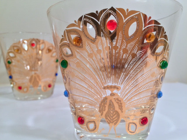 Culver Signed Mid-Century 22-Karat Gold Peacock Old Fashion Glasses (Set of 4)