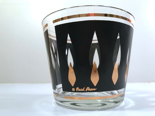 Fred Press Signed Mid-Century Black and 22-Karat Gold Flame Ice Bucket