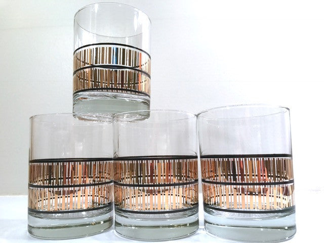 Culver Mid-Century 22-Karat Gold Stripes with Black Bands  Double Old Fashion Glasses (Set of 4)