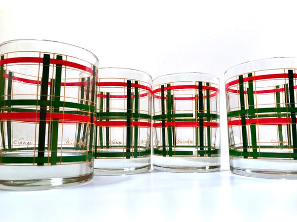 Georges Briard Signed Mid-Century Red and Green Plaid Double Old Fashion Glasses (Set of 4)