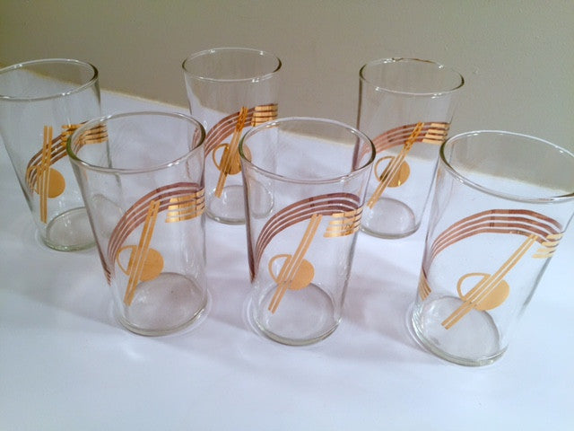 Mid-Century Art Deco Planet Glasses (Set of 6)