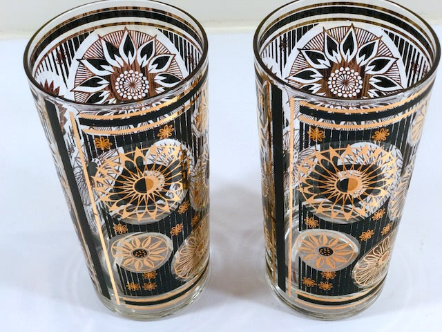 Fred Press Signed Mid-Century Black and 22-Karat Gold Abstract Flower Glasses (Set of 2)