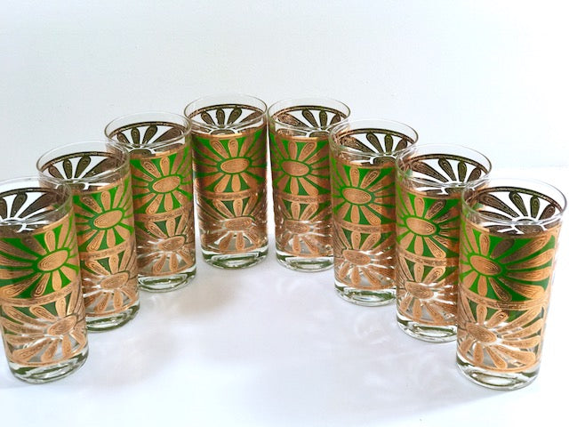 Georges Briard Signed Mid-Century Chrysanthemum Highball Glasses (Set of 8)