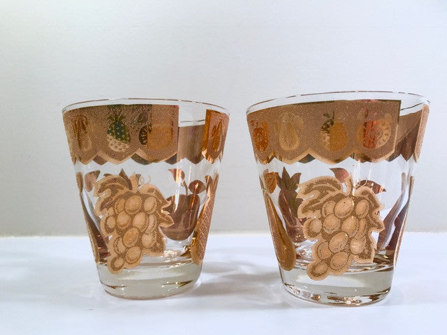 Culver Signed Mid-Century Golden Fruit Double Old Fashion Glasses (Set of 2)