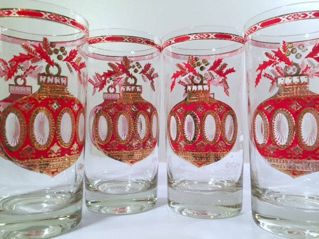 Culver Signed Mid-Century Christmas Ornament Highball Glasses (Set of 4)