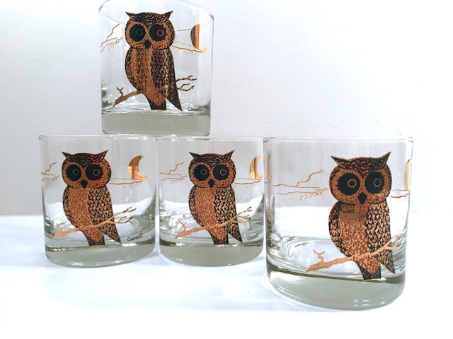 Couroc Signed Mid-Century Black and 22-Karat Gold Owl Old Fashion Glasses (Set of 4)