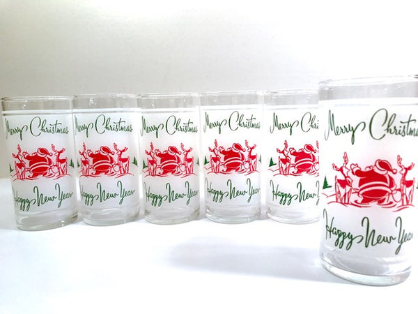Federal Glass Santa and Reindeer Season Greetings Glasses (Set of 6)