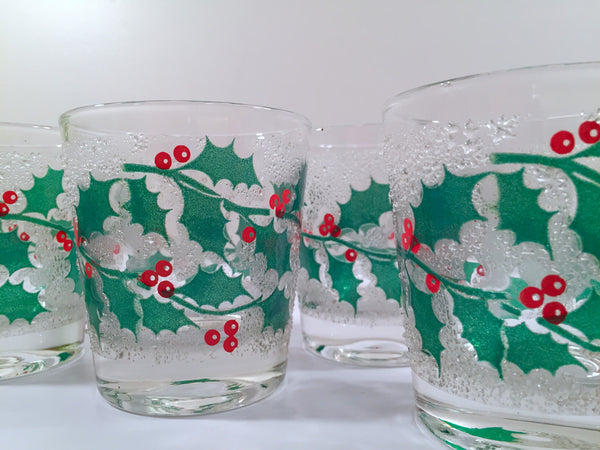 Fred Press Signed Mid-Century Frosted Christmas Holly Old Fashion Glasses (Set of 4)