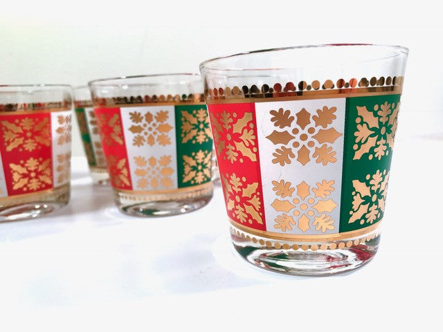Pasinski - Mid-Century 22-Karat Gold Christmas Holiday Old Fashion Glasses (Set of 8)