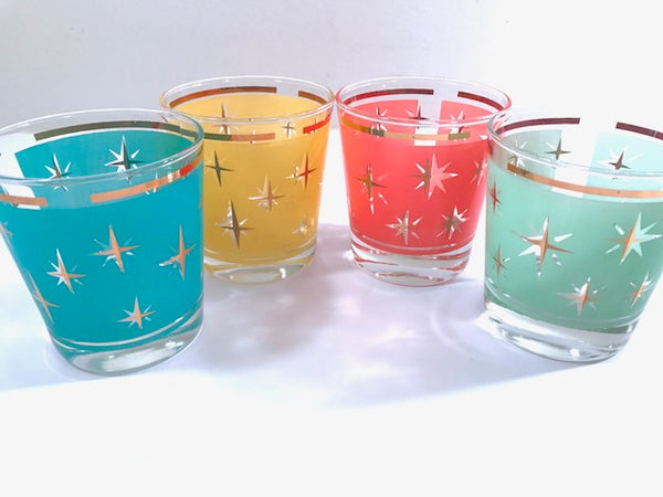 Mid-Century Atomic North Star Lowball Cocktail Glasses (Set of 4)