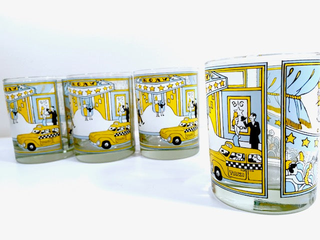 "Georges Briard - Signed Mid-Century ""A Night at the Roxy"" Double Old Fashion Glasses (Set of 4)"