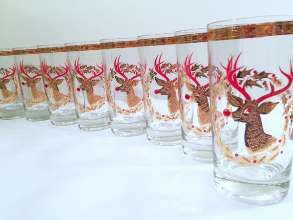 Culver Signed Mid-Century Rudolph The Red Nose Reindeer Highball Glasses - Rare (Set of 8)