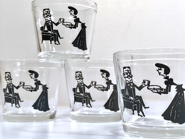 Hazel Atlas Mid-Century Cocktail Time Double Whiskey Glasses (Set of 4)
