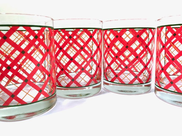Georges Briard Signed Mid-Century Red Plaid Double Old Fashion Glasses (Set of 4)
