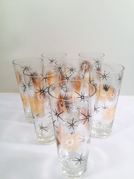 Mid-Century 22-Karat Gold and Black Retro Atomic Collins Glasses (Set of 7)