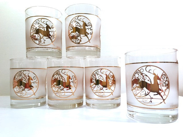 Culver Signed Mid-Century Golden Reindeer Double Old Fashion Glasses (Set of 6)