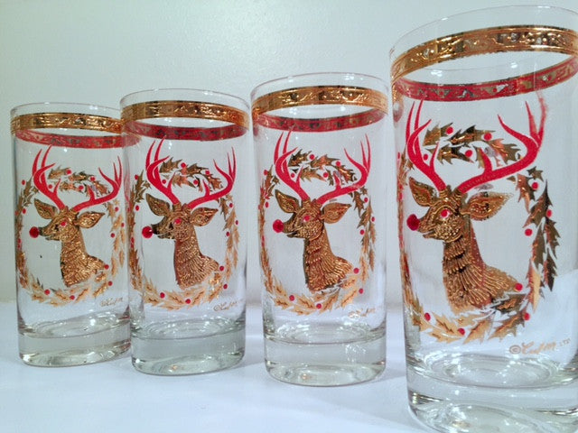 Culver Signed Mid-Century Rudolph The Red Nose Reindeer Highball Glasses - Rare (Set of 4)