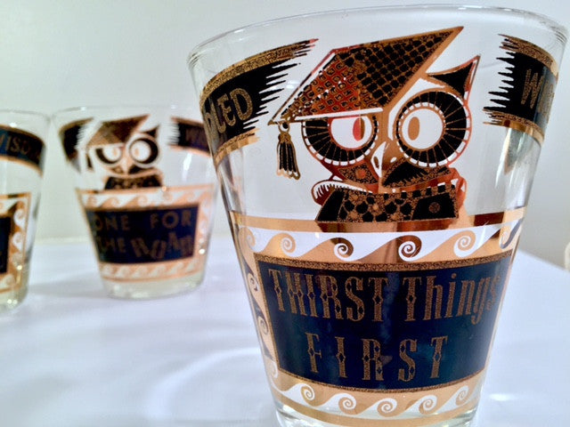 Georges Briard Signed Mid-Century Muddled Wisdom Double Old Fashion Glasses (Set of 5)