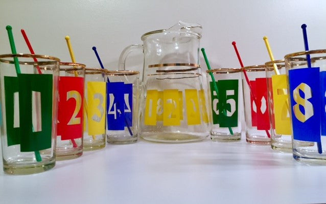 Vintage 17-Piece Number Bar Set (8 Glasses, 8 Stirs, 1 Pitcher)