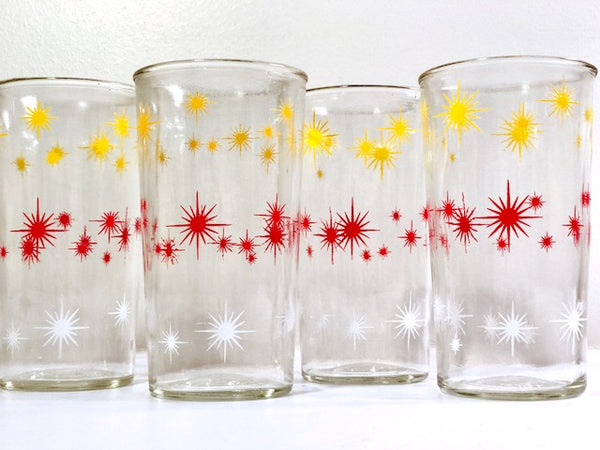 Anchor Hocking Mid Century Atomic Starburst Glasses (Set of 4)