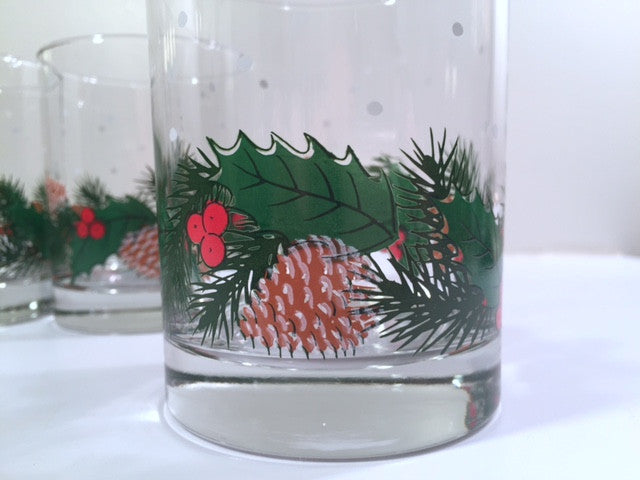 Libbey Pinecone and Holly Double Old Fashion Glasses (Set of 4)