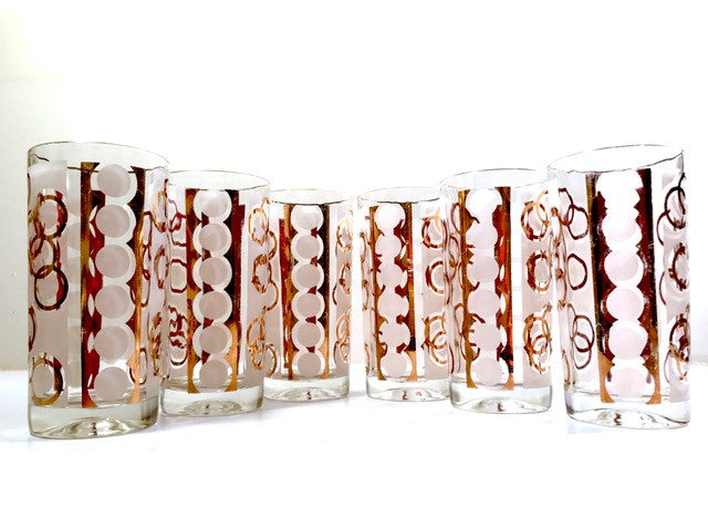Fred Press Mid-Century 22-Karat Gold & White Chains of Love Glasses (Set of 6)