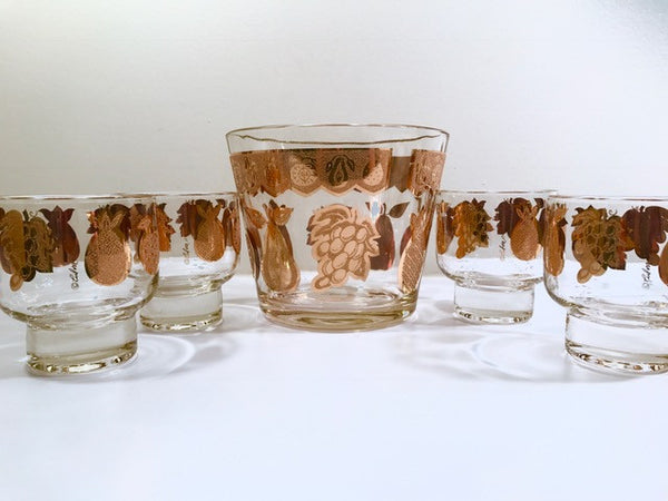 Culver Signed Mid-Century Golden Fruit Ice Bucket and Old Fashion Glasses (Set of 4)
