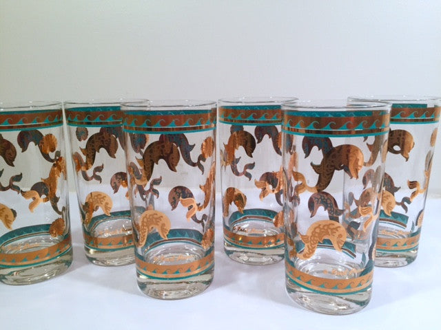 Fred Press Signed Mid-Century Turquoise & 22-Karat Gold Dolphin Glasses (Set of 6)