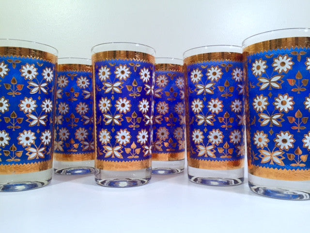 Georges Briard Signed Mid-Century Field of Daisies Highball Glasses (Set of 6)