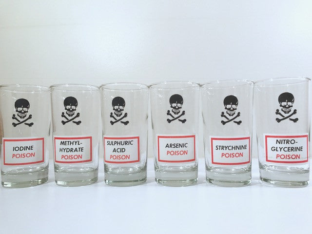 Dominion Glass Mid-Century Name Your Poison Glasses (Set of 6)