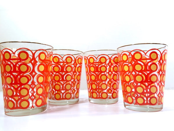 Colony Groovy Retro Orange & Yellow Circle Double Old Fashion Glasses (Set of 4)