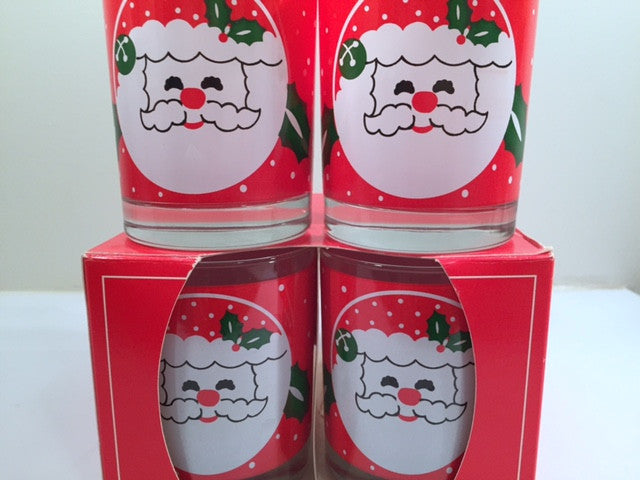 Libbey Mid-Century Santa Glasses (Set of 4 with Original Box)