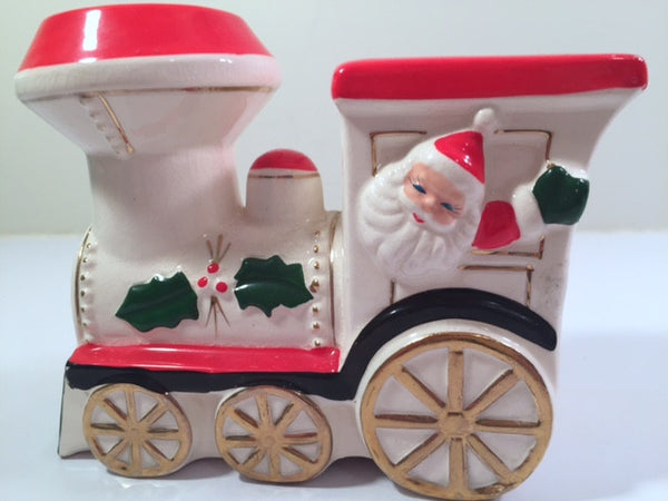 Vintage Santa and Elf Christmas Train Bank