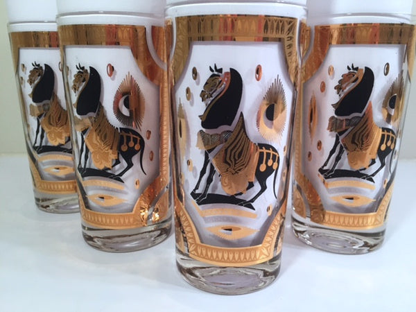 Fred Press Signed Mid-Century Trojan Horse Highball Glasses (Set of 4)