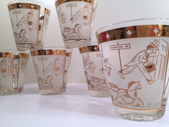 "Mid-Century ""Birds and the Bees"" Double Old Fashion Glasses (Set of 6)"