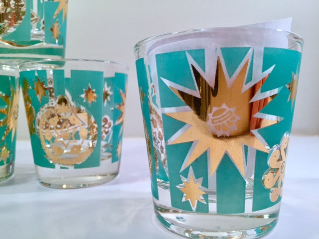 Mid-Century Turquoise and 22-Karat Gold Old Fashion Glasses (Set of 6)