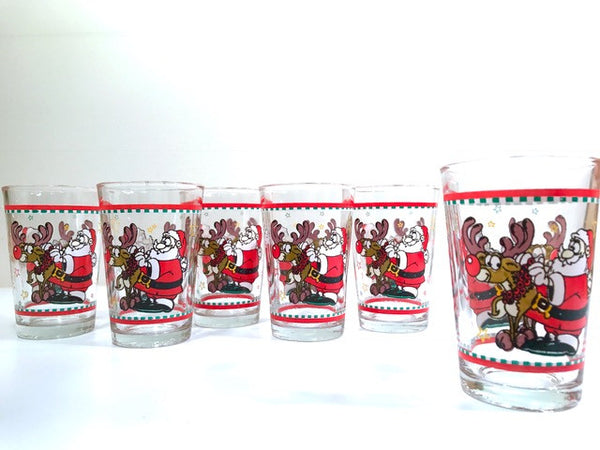 Vintage Santa and Rudolph Glasses (Set of 6)