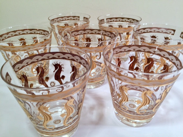 Fred Press Signed Mid-Century 22-Karat Gold Seahorse Double Old Fashion Glasses (Set of 7)