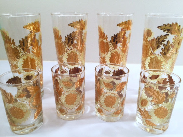 Mid-Century Golden Chrysanthemums 8-Piece Set (4 Tall Collins Glasses, 4 Double Shot Glasses)