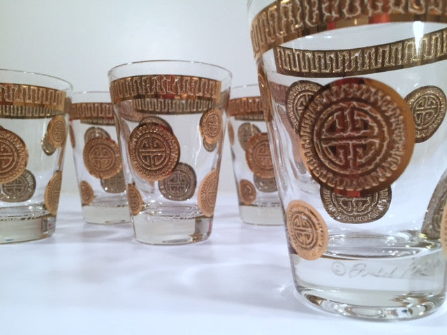 Fred Press Signed Mid-Century Golden Mayan Circle Whiskey-Double Shot Glasses (Set of 6)