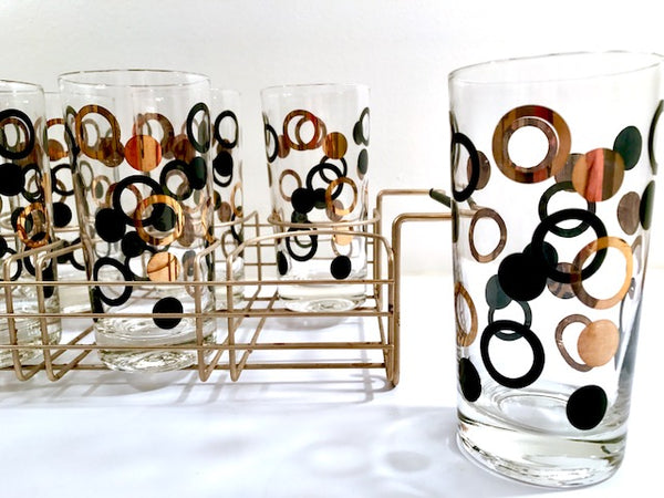 Mid-Century 22-Karat Gold and Black Circle Highball Glasses With Carrier (Set of 8)