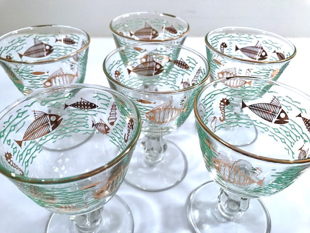 Libbey Mid-Century Atomic Fish Sherbet and Cordial Glasses (Set of 6)