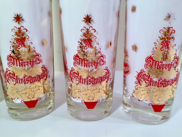 Vintage Merry Christmas Tree Glasses (Set of 6)