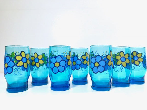 Libbey Retro Blue Flower Power Glasses (Set of 7)
