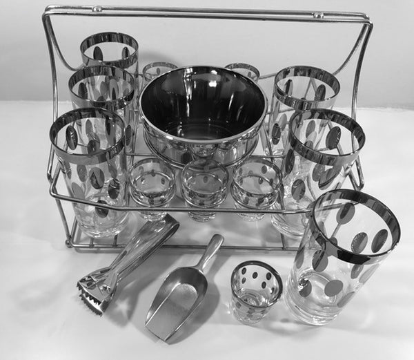 Dorothy Thorpe Mid-Century Polka Dot 16-Piece Bar Set