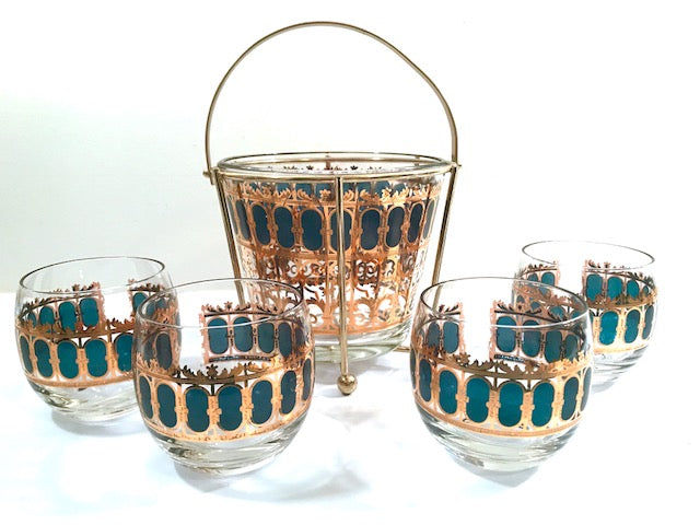 Culver Signed Mid-Century Emerald Azure Scroll 6-Piece Cocktail Set