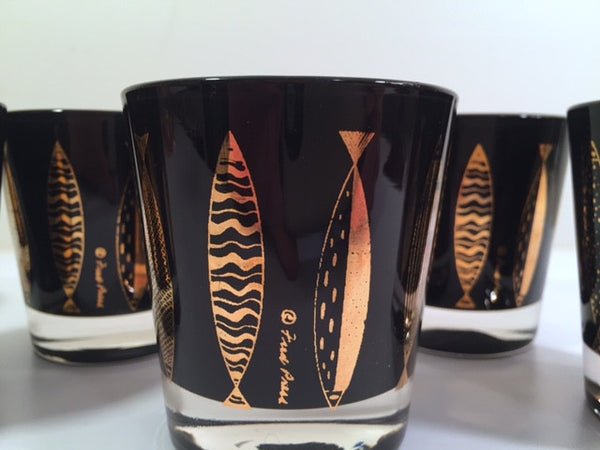 Fred Press Signed Mid-Century Black & 22-Karat Gold Fish Whiskey Glasses (Set of 6)