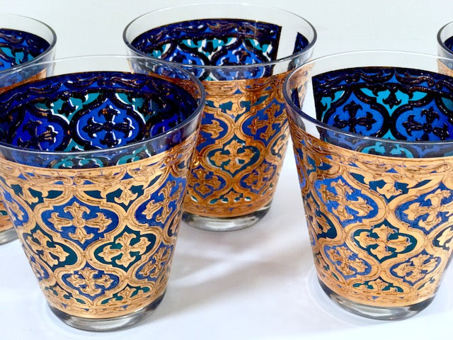 Georges Briard Signed Mid-Century Firenza Blue and 22-Karat Gold Italian Renaissance Cross Double Old Fashion Glasses (Set of 5)