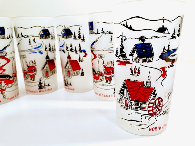 Hazel Atlas Mid-Century Frosted Santa's Workshop North Pole NY (Set of 6)